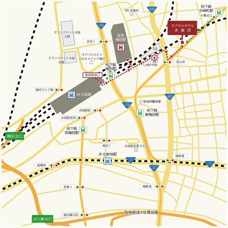 カプセルホテル大東洋 アクセスマップ