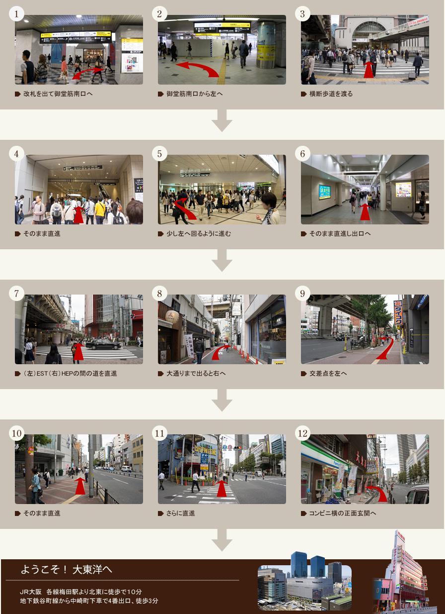 JR大阪駅からの道順