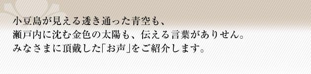 小豆島が見える透き通った青空も、瀬戸内に沈む金色の太陽も、伝える言葉がありません。みなさまに頂戴した「お声」をご紹介します。
