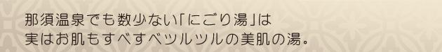 那須温泉でも数少ない「にごり湯」は実はお肌もすべすべツルツルの美肌の湯