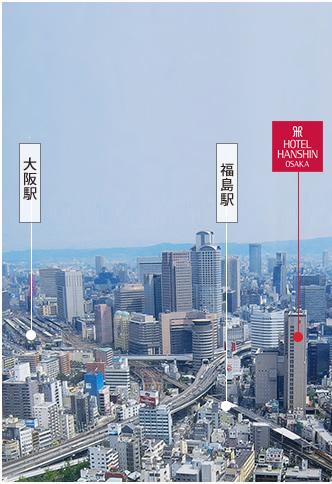 福島駅と大阪駅の位置関係