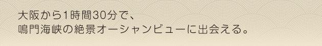 大阪から1時間30分で、鳴門海峡の絶景オーシャンビューに出会える。