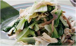 湯葉ときのこと白菜のおひたし