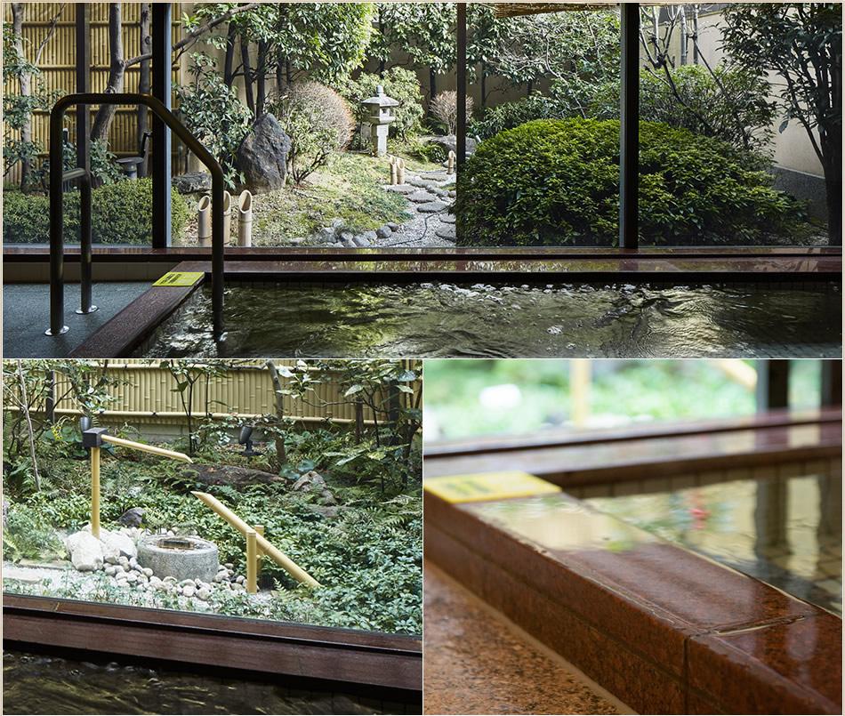日本庭園を眺めながら、非日常の空間に浸る。緊張をほぐす、癒しのひととき。至福の時間。