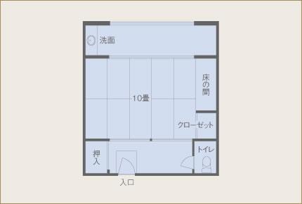 葵亭 一般客室(6畳) 眺望山側 間取り