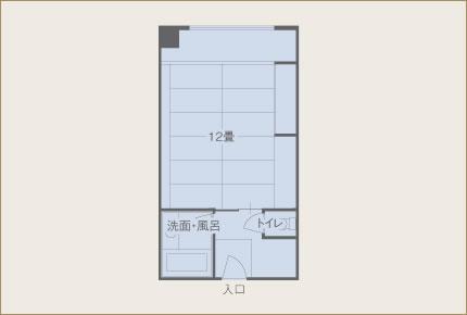 葵亭 ワイド&お部屋食ルーム(12畳) 眺望湖側 間取り