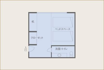 桔梗亭 一般客室(8畳) 眺望山側 間取り