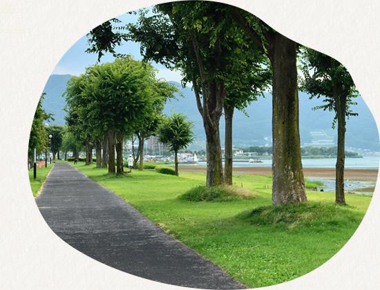 諏訪湖 遊歩道