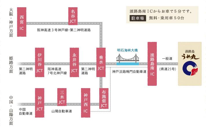 大阪・神戸・姫路・中国・山陽方面 お車でお越しの場合