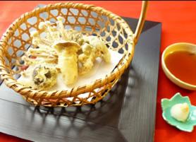 季節の野菜、きのこ天ぷら